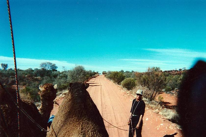 Debi with her camel cart on the road along the Ghan line